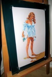 Cadre 2 verres, pastilles de cristal et peinture dans encadrement cadre_07-201x300